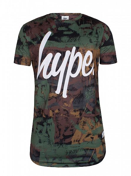 Hype Green/White Brushed Camo Curved Hem T-Shirt