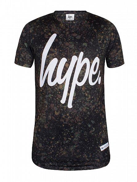 Hype Green/White Splat Camo Curved Hem T-Shirt