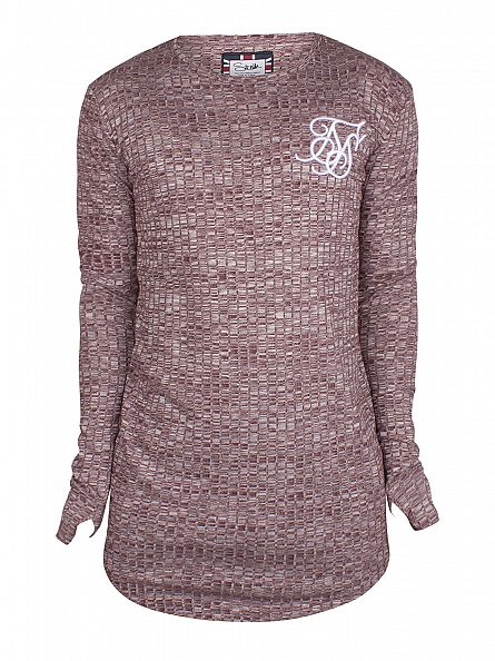 Sik Silk Burgundy Longsleeved Pattern Ribbed Knit