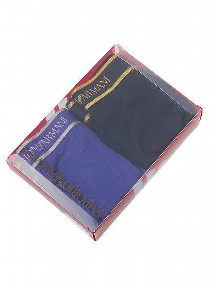 Emporio Armani Purple/Navy 2 Pack Logo Waistband Trunks