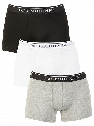 Polo Ralph Lauren Grey/White/Black 3 Pack Trunks