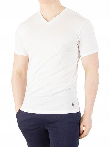 Polo Ralph Lauren White 2 Pack V-Neck T-Shirts