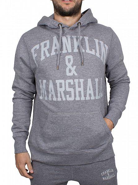 Franklin & Marshall Black Melange Arch Logo Hoodie
