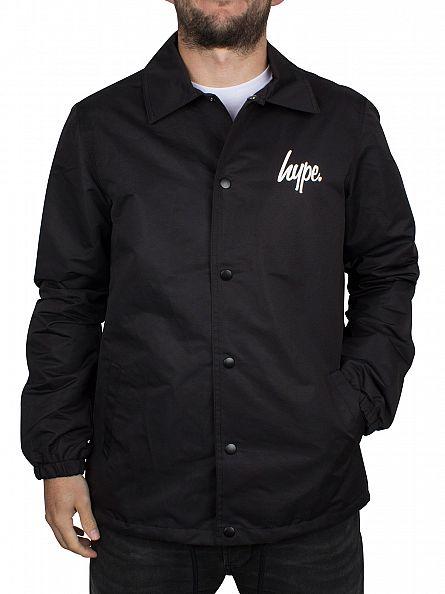 Hype Black/White Script Logo Coach Jacket
