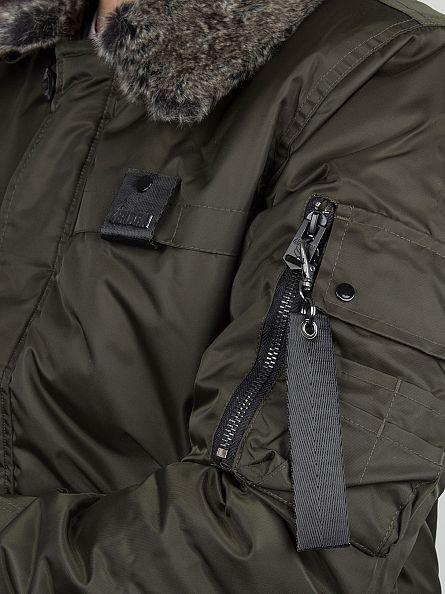 4Bidden Khaki Ambush MA2 Fur Trim Bomber Jacket