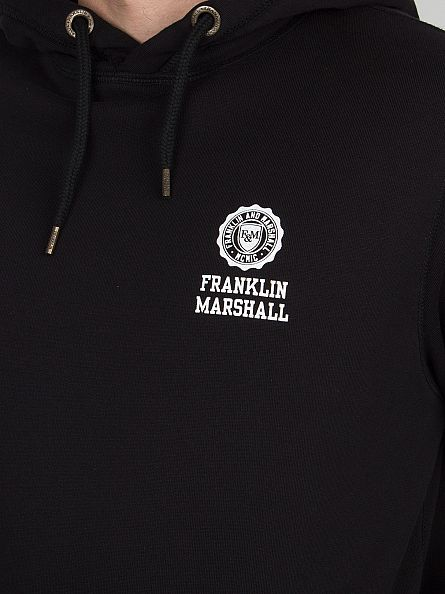 Franklin & Marshall Black Left Chest Logo Hoodie