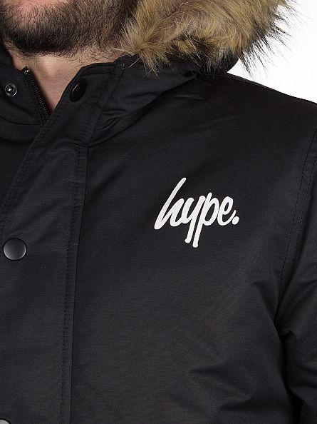 Hype Black Script Logo Parka Jacket
