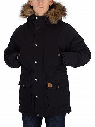 Carhartt WIP Black/Black Trapper Parka Fur Trim Jacket