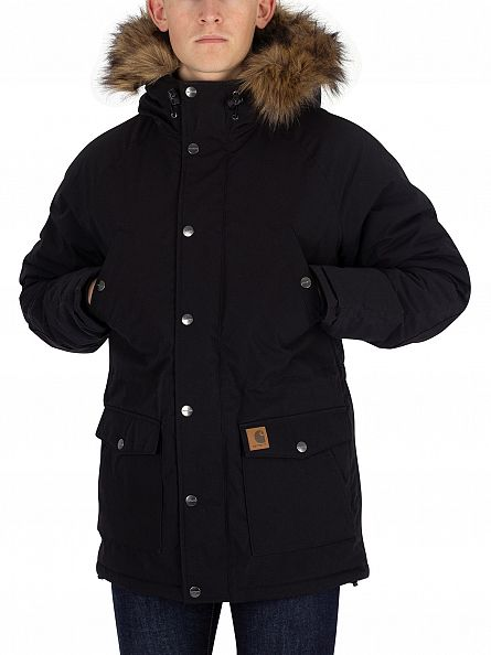 Carhartt WIP Black/Black Trapper Parka Fur Trim Jacket
