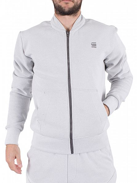 G-Star White Duxt Bomber Sweat Jacket