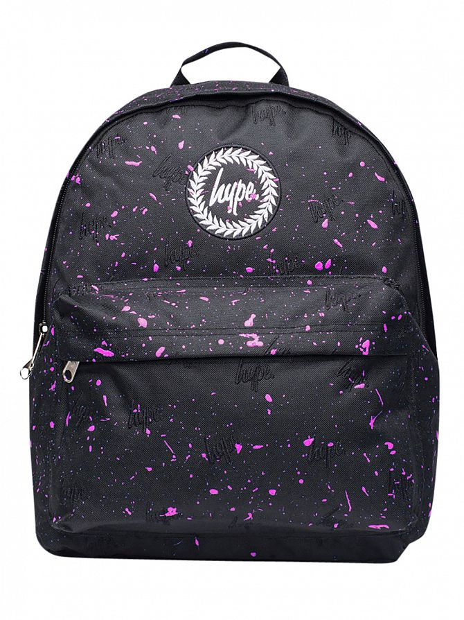 Hype Black/Pink Script All Over Embroidery Splat Backpack
