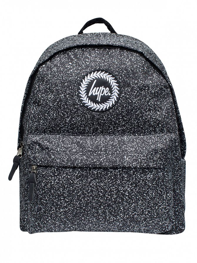 Hype Black/White Speckle Screen Print Logo Backpack
