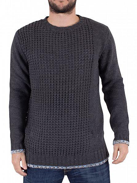 Religion Charcoal/Blue Casey Waffle Knit