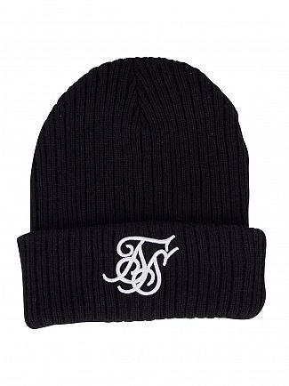 Sik Silk Black Ribbed Knit Embroidery Beanie