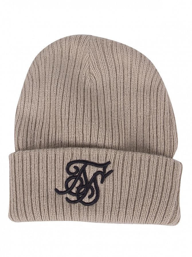 Sik Silk Sand Ribbed Knit Embroidery Beanie