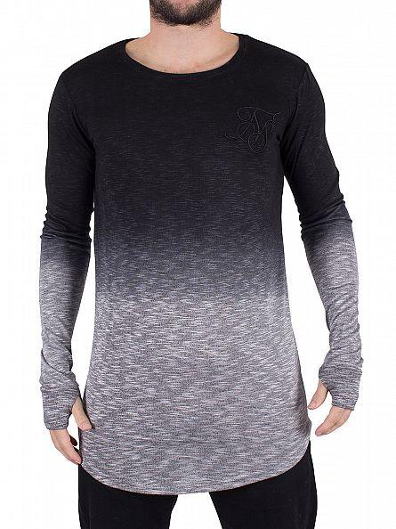 Sik Silk Black/Grey Longsleeved Dip Dye Mouline T-Shirt