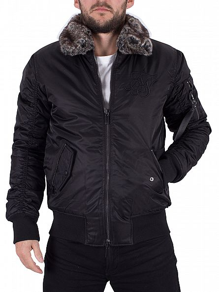 Sik Silk Black Climate Sherpa Bomber Jacket