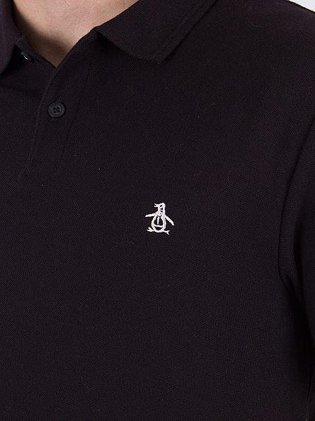 Original Penguin True Black Slim Fit Heritage Logo Polo Shirt