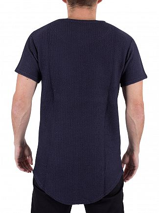 Sik Silk Blue Textured Knit Double Curved Hem T-Shirt