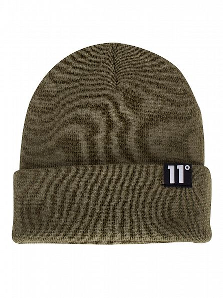 11 Degrees Olive Loop Logo Knit Beanie
