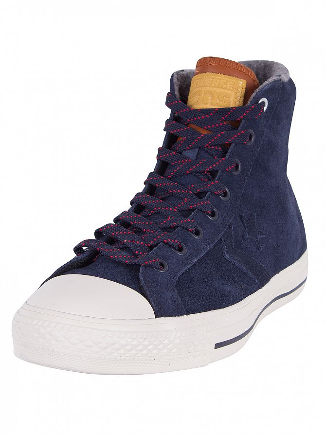 Converse Obsidian/Antique Sepia/Grey Star Player Suede Hi Trainers