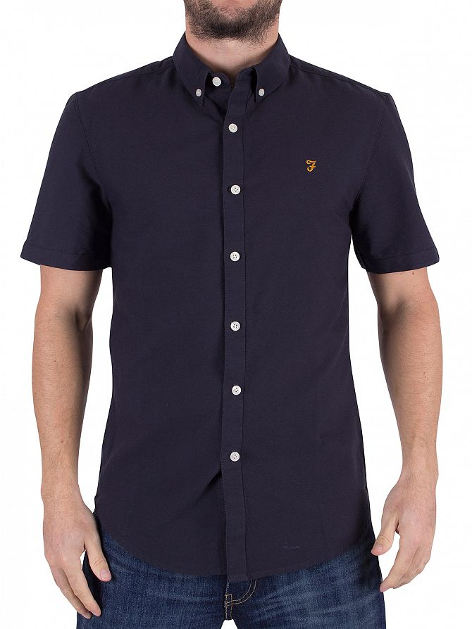 Farah Vintage Navy Slim Fit Brewer Shortsleeved Shirt