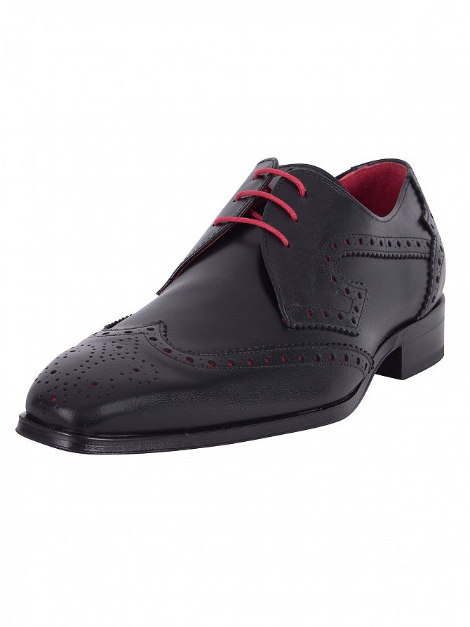Jeffery West Black/Charcoal Red Capone Boxcalf Shoes