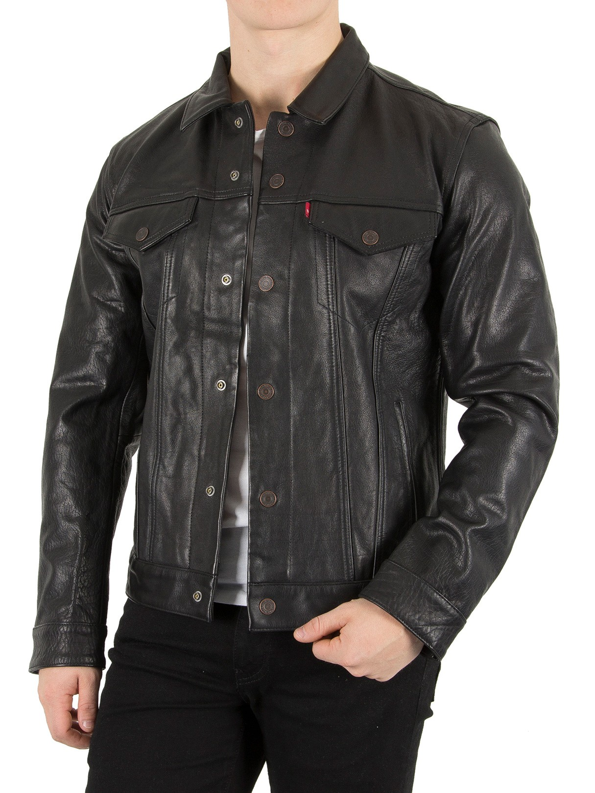 Levi S Men S Buffalo Leather Trucker Jacket Black Ebay