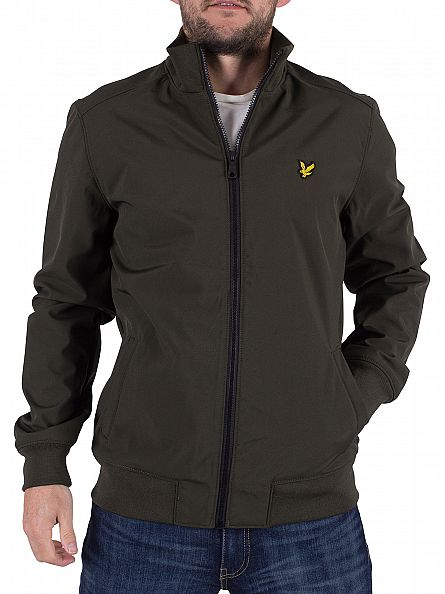 Lyle & Scott Dark Sage Funnel Neck Logo Soft Shell Jacket