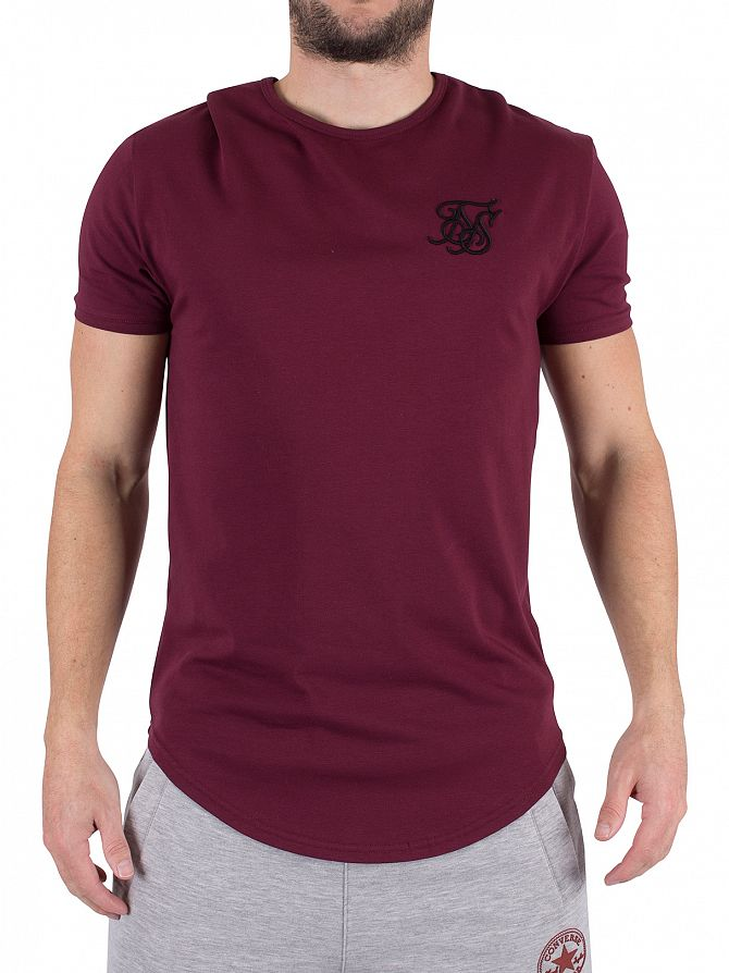 Sik Silk Burgundy Curved Hem Logo Gym T-Shirt
