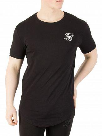 Sik Silk Black Curved Hem Logo Gym T-Shirt