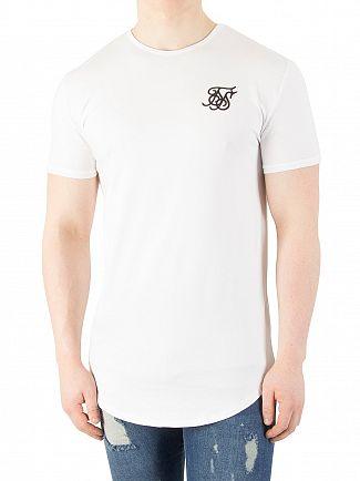 Sik Silk White Curved Hem Logo Gym T-Shirt