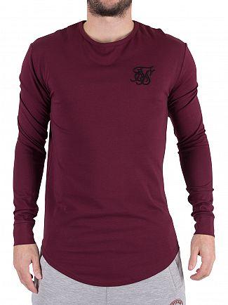 Sik Silk Burgundy Longsleeved Curved Hem Logo Gym T-Shirt