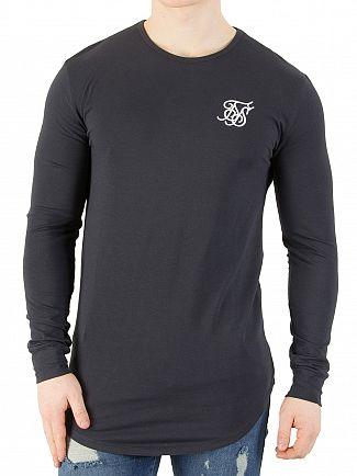 Sik Silk Navy Longsleeved Curved Hem Logo Gym T-Shirt