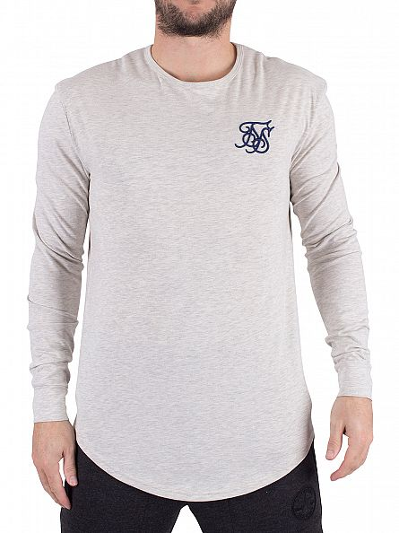 Sik Silk Snow Marl Longsleeved Curved Hem Logo Gym T-Shirt
