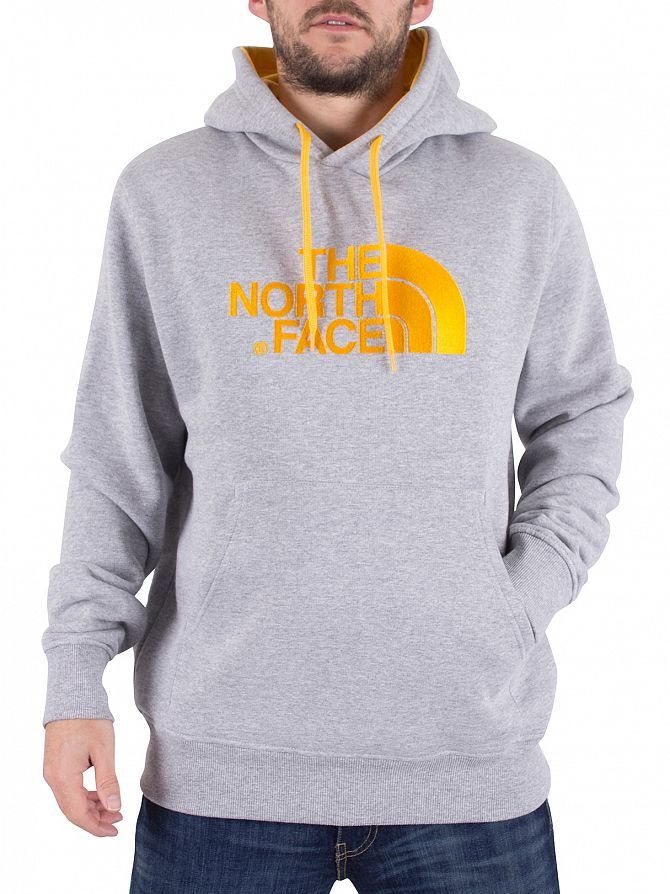 The North Face Heather Grey/Yellow Drew Peak Graphic Hoodie
