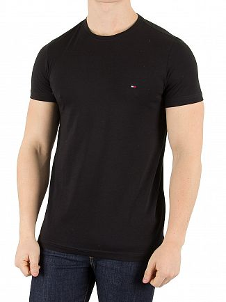 Tommy Hilfiger Flag Black Slim Fit Stretch Logo T-Shirt