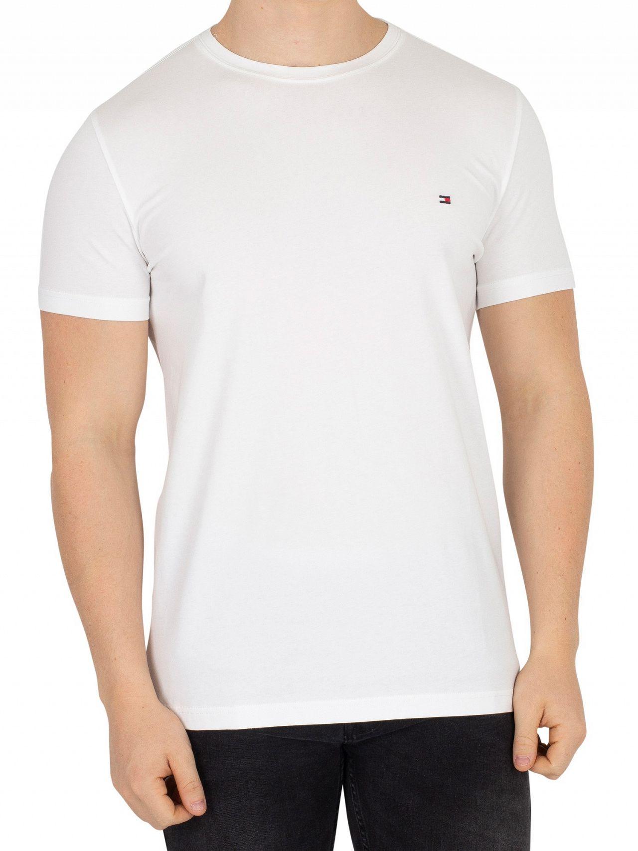 12a5354e Tommy Hilfiger Classic White Slim Fit Stretch Logo T-Shirt | Standout