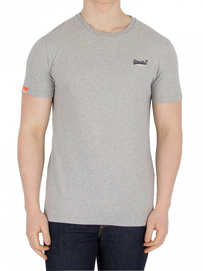 Superdry Grey Marl Orange Label Vintage Logo T-Shirt