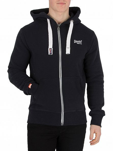 Superdry Eclipse Navy Orange Label Logo Zip Hoodie