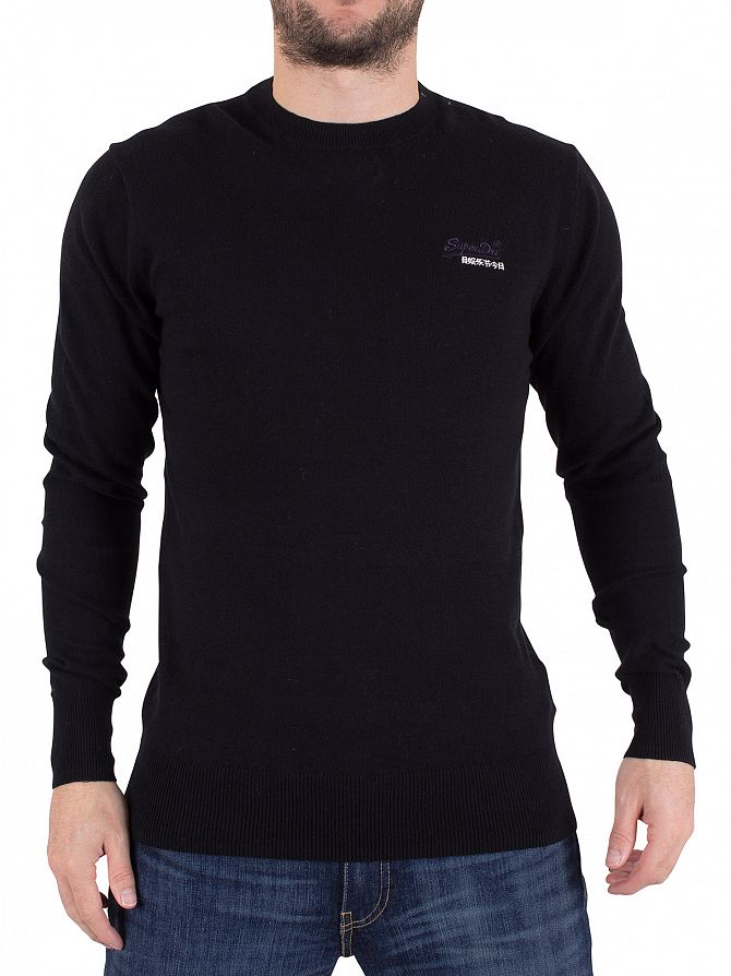 Superdry Black Orange Label Logo Knit
