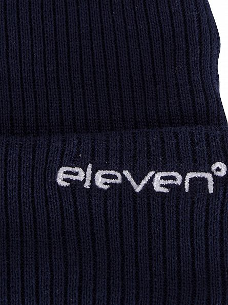 11 Degrees Navy Ribbed Logo Knit Beanie