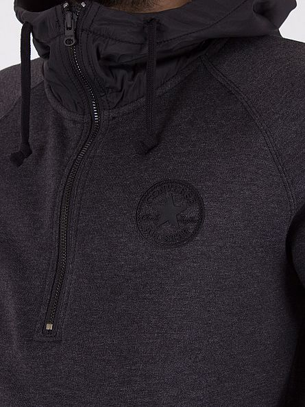 Converse Black Heather Woven Detail Half Zip Logo Hoodie
