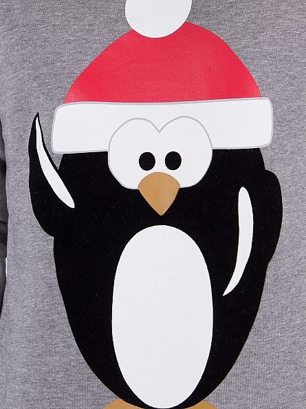 Jack & Jones Light Grey Melange Merry Penguin Sweatshirt