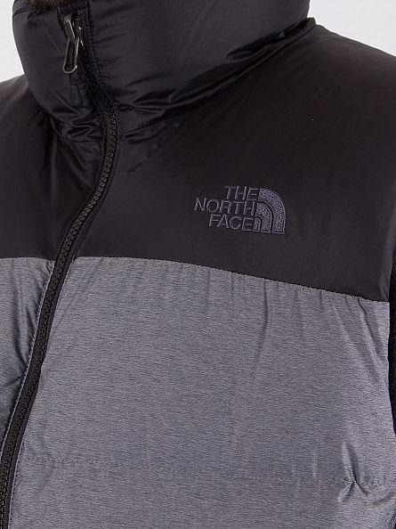 The North Face Mid Grey Heather/Black Nuptse Logo Vest Gilet