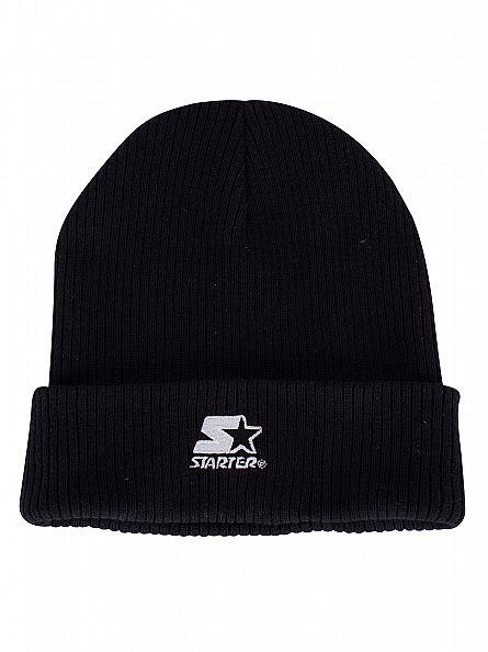 11 Degrees Black/White Ribbed Logo Knit Beanie