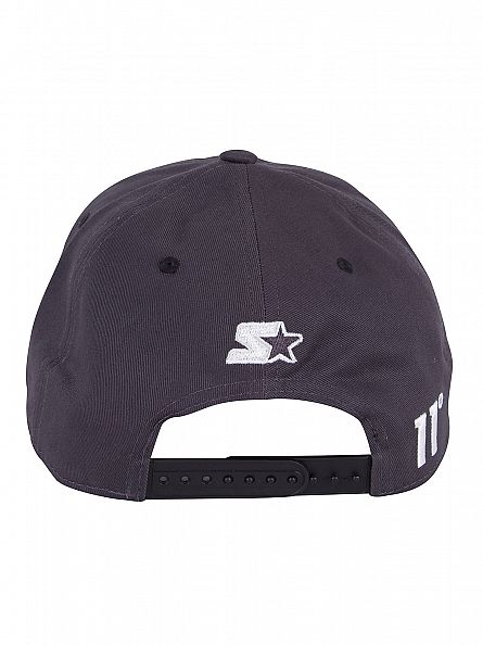 11 Degrees Charcoal/White Script Pitcher Logo Cap