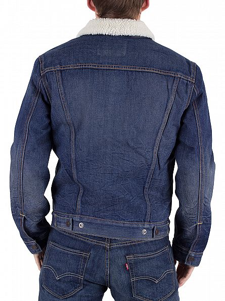 Levi's Dark Denim Type 3 Lucky Town Sherpa Jacket
