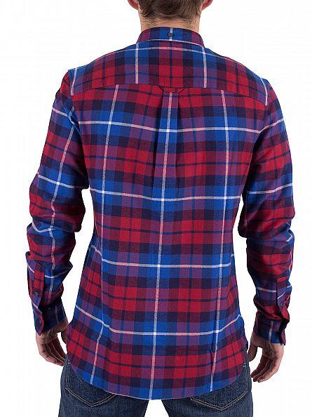 Lyle & Scott Navy/Red Checked Flannel Logo Shirt