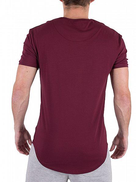 Sik Silk Burgundy Curved Hem Logo Gym T-Shirt